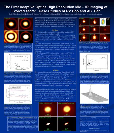 The First Adaptive Optics High Resolution Mid – IR Imaging of Evolved Stars: Case Studies of RV Boo and AC Her B.A. Biller, L.M.Close, D. Potter, J. Bieging,