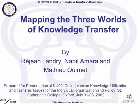 Mapping the Three Worlds of Knowledge Transfer By Réjean Landry, Nabil Amara and Mathieu Ouimet Prepared for Presentation at KU02: Colloquium on Knowledge.