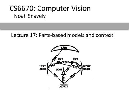 Lecture 17: Parts-based models and context CS6670: Computer Vision Noah Snavely.