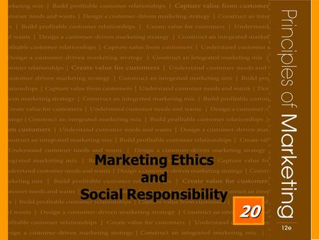 Marketing Ethics and Social Responsibility 20. 20 - 2 Learning Objectives After studying this chapter, you should be able to: 1. Identify the major social.