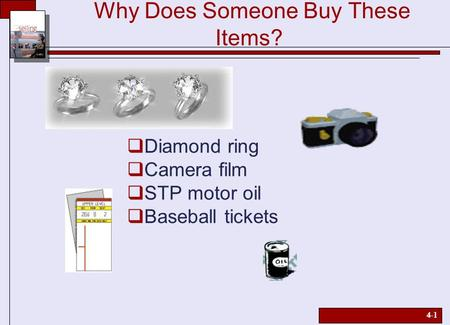 4-1 Why Does Someone Buy These Items?  Diamond ring  Camera film  STP motor oil  Baseball tickets.