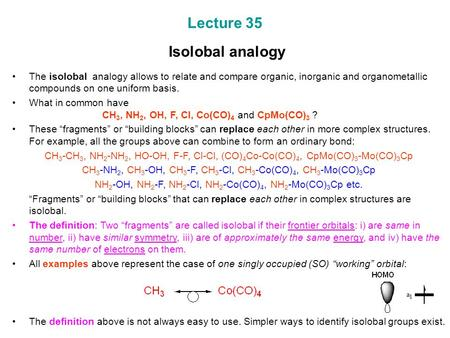 Lecture 35 Isolobal analogy