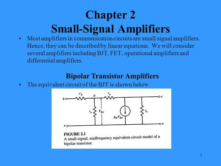 1 Chapter 2 Small-Signal Amplifiers Most amplifiers in communication circuits are small signal amplifiers. Hence, they can be described by linear equations.