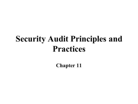 Security Audit Principles and Practices Chapter 11.
