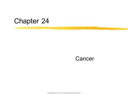 Copyright (c) by W. H. Freeman and Company Chapter 24 Cancer.