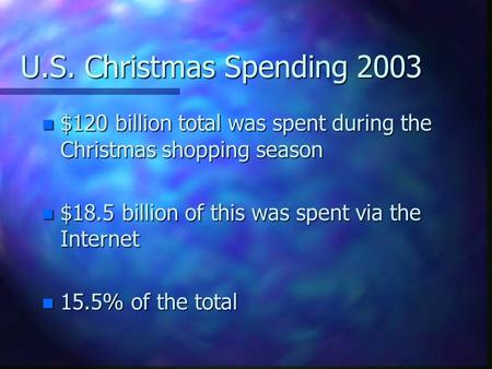 U.S. Christmas Spending 2003 n $120 billion total was spent during the Christmas shopping season n $18.5 billion of this was spent via the Internet n 15.5%