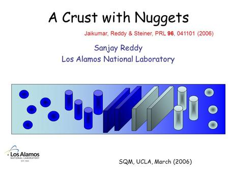 A Crust with Nuggets Sanjay Reddy Los Alamos National Laboratory Jaikumar, Reddy & Steiner, PRL 96, 041101 (2006) SQM, UCLA, March (2006)