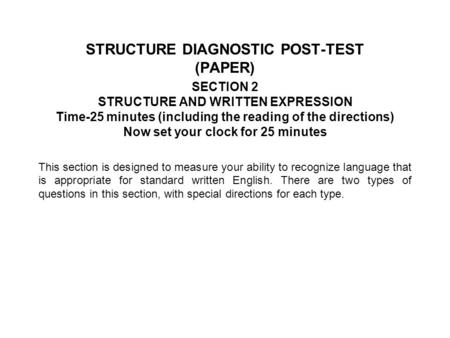 STRUCTURE DIAGNOSTIC POST-TEST (PAPER)