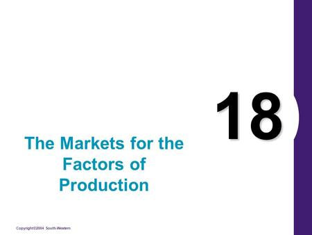 Copyright©2004 South-Western 18 The Markets for the Factors of Production.
