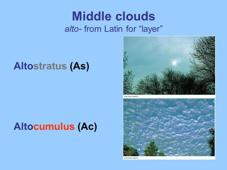 "Middle clouds alto- from Latin for ""layer"" Altostratus (As) Altocumulus (Ac)"