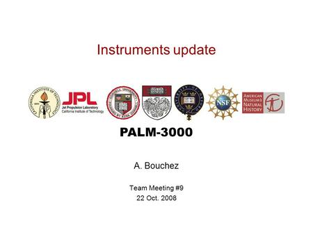 PALM-3000 Instruments update A. Bouchez Team Meeting #9 22 Oct. 2008.