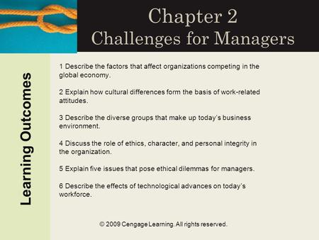 © 2009 Cengage Learning. All rights reserved. Chapter 2 Challenges for Managers 1 Describe the factors that affect organizations competing in the global.