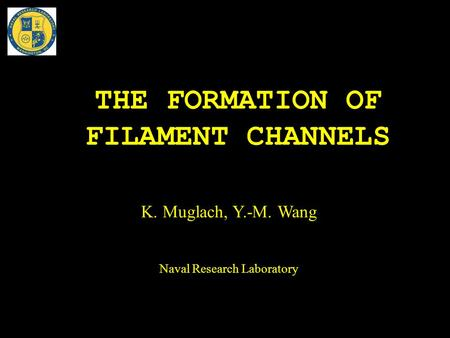 THE FORMATION OF FILAMENT CHANNELS K. Muglach, Y.-M. Wang Naval Research Laboratory.