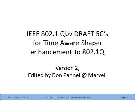 IEEE Qbv DRAFT 5C's for Time Aware Shaper enhancement to 802.1Q