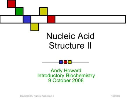 10/09/08Biochemistry: Nucleic Acid Struct II Nucleic Acid Structure II Andy Howard Introductory Biochemistry 9 October 2008.