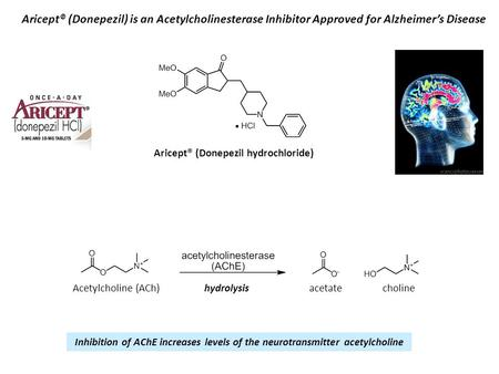 Aricept® (Donepezil) is an Acetylcholinesterase Inhibitor Approved for Alzheimer's Disease Aricept® (Donepezil hydrochloride) Acetylcholine (ACh)acetatehydrolysis.
