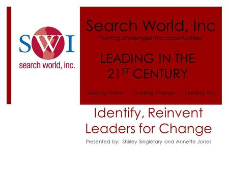 "Identify, Reinvent Leaders for Change Presented by: Shirley Singletary and Annette Jones Search World, Inc ""turning challenges into opportunities"" LEADING."