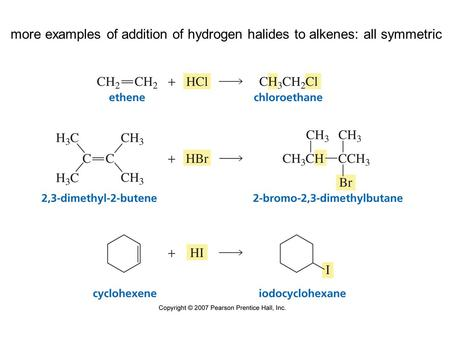 More examples of addition of hydrogen halides to alkenes: all symmetric.