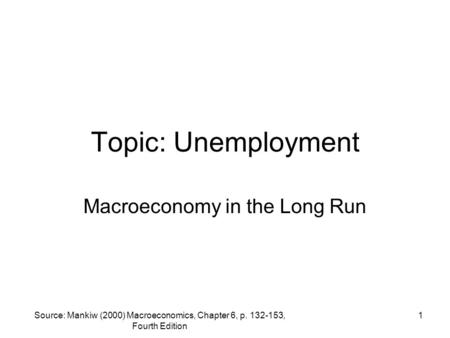 Macroeconomy in the Long Run