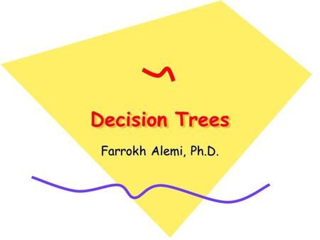 Decision Trees Farrokh Alemi, Ph.D.. Coming Up How to construct a decision tree? –Components of a tree –Interviewing decision makers How to analyze a.