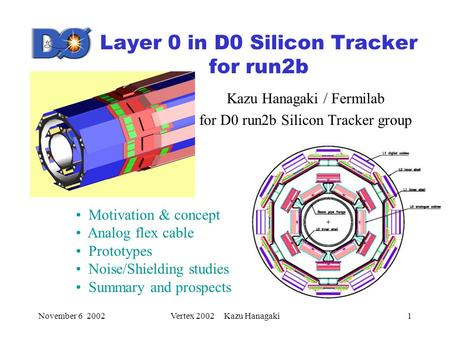 November 6 2002Vertex 2002 Kazu Hanagaki1 Layer 0 in D0 Silicon Tracker for run2b Kazu Hanagaki / Fermilab for D0 run2b Silicon Tracker group Motivation.