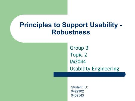 Principles to Support Usability - Robustness Group 3 Topic 2 IM2044 Usability Engineering Student ID: 0422902 0409543.