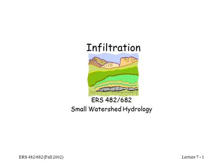 Lecture 7 - 1 ERS 482/682 (Fall 2002) Infiltration ERS 482/682 Small Watershed Hydrology.