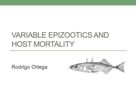 VARIABLE EPIZOOTICS AND HOST MORTALITY Rodrigo Ortega.