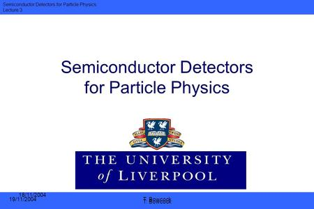 Semiconductor <strong>Detectors</strong> for Particle Physics
