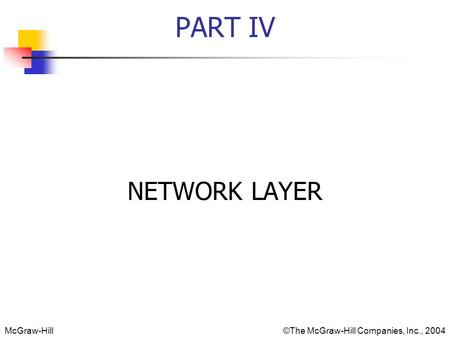 McGraw-Hill©The McGraw-Hill Companies, Inc., 2004 PART IV NETWORK LAYER.