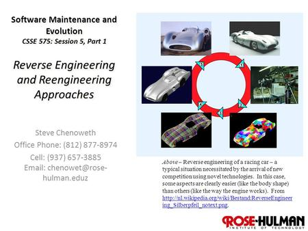 1 Software Maintenance and Evolution CSSE 575: Session 5, Part 1 Reverse Engineering and Reengineering Approaches Steve Chenoweth Office Phone: (812) 877-8974.