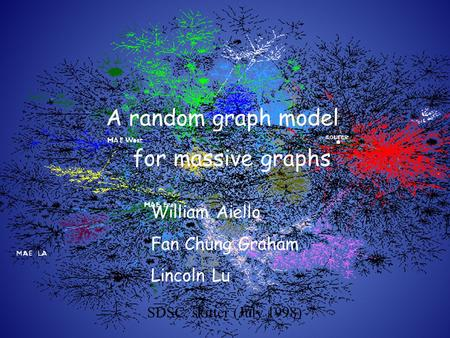 SDSC, skitter (July 1998) A random graph model for massive graphs William Aiello Fan Chung Graham Lincoln Lu.