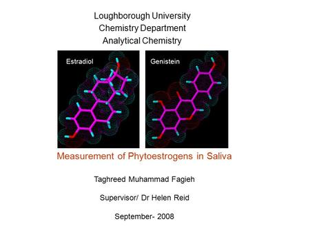 Loughborough University Chemistry Department Analytical Chemistry EstradiolGenistein Measurement of Phytoestrogens in Saliva Taghreed Muhammad Fagieh Supervisor/
