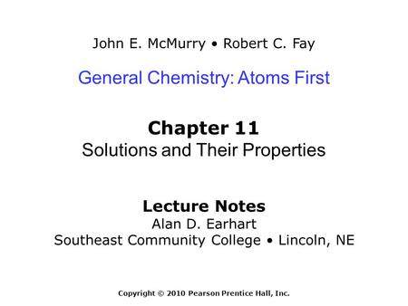Chapter 11: Solutions and Their Properties