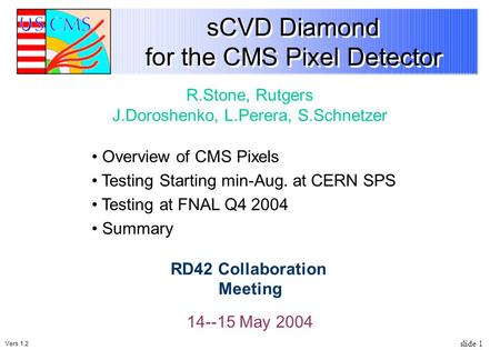 Slide 1 sCVD Diamond for the CMS Pixel Detector 14--15 May 2004 R.Stone, Rutgers J.Doroshenko, L.Perera, S.Schnetzer RD42 Collaboration Meeting Overview.
