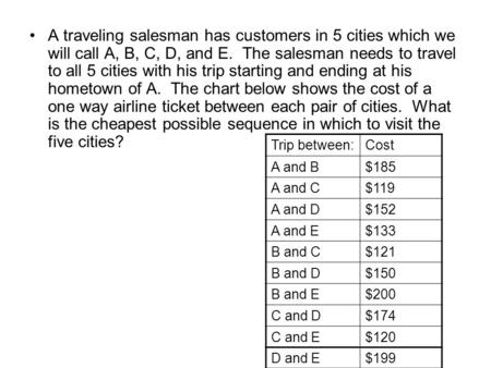 A traveling salesman has customers in 5 cities which we will call A, B, C, D, and E. The salesman needs to travel to all 5 cities with his trip starting.