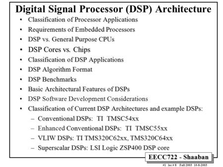 Digital Signal Processor (DSP) Architecture