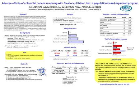 Adverse effects of colorectal cancer screening with fecal occult blood test: a population-based organized program Results – serious adverse effects Adverse.