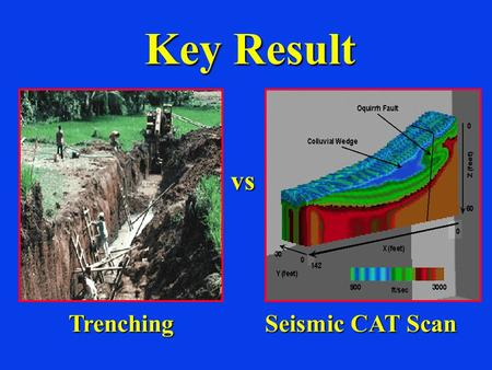 Key Result Seismic CAT Scan vs Trenching.