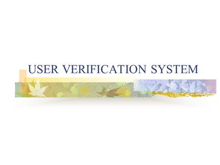USER VERIFICATION SYSTEM. Scope Web Interface RGB separation Pervasive.