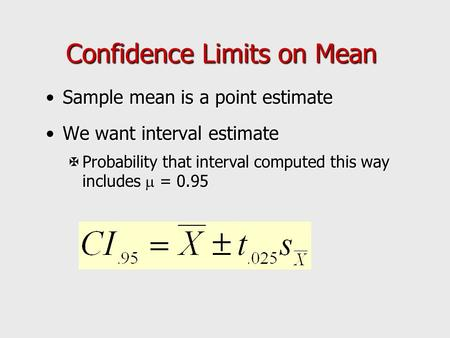 Confidence Limits on Mean Sample mean is a point estimateSample mean is a point estimate We want interval estimateWe want interval estimate  Probability.