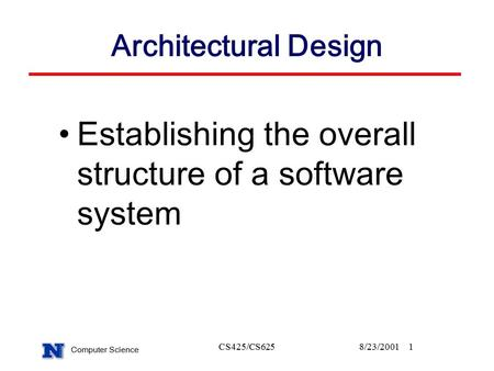 Computer Science CS425/CS6258/23/20011 Architectural Design Establishing the overall structure of a software system.