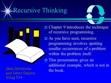  Chapter 9 introduces the technique of recursive programming.  As you have seen, recursive programming involves spotting smaller occurrences of a problem.