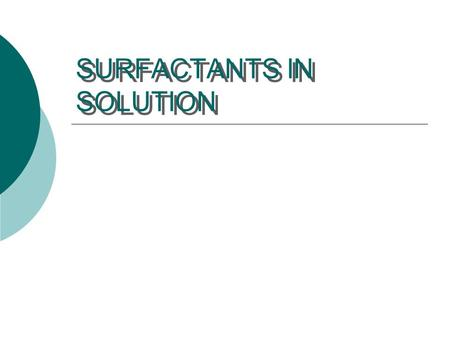 SURFACTANTS IN SOLUTION. Amphiphilic Surfactants Amphiphilic surfactants contain a non-polar portion and a polar portion. Aerosol OT.