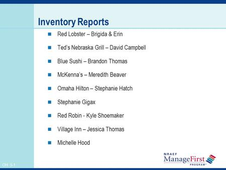Inventory Reports Red Lobster – Brigida & Erin