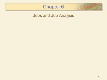 Chapter 6 Jobs and Job Analysis.