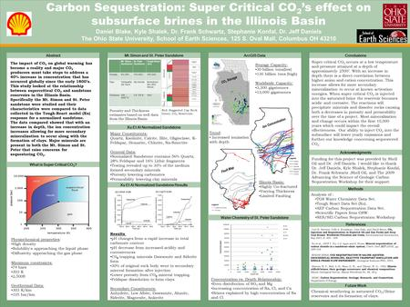 TEMPLATE DESIGN © 2008 www.PosterPresentations.com Carbon Sequestration: Super Critical CO 2 's effect on subsurface brines in the Illinois Basin Daniel.
