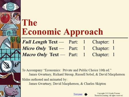 "To Accompany ""Economics: Private and Public Choice 10th ed."" James Gwartney, Richard Stroup, Russell Sobel, & David Macpherson Slides authored and animated."