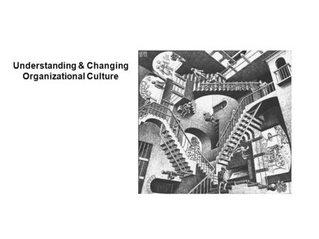 Understanding & Changing Organizational Culture