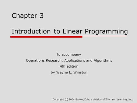 Chapter 3 Introduction to Linear Programming